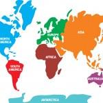 mapa del mundo con los continentes — Vector de stock