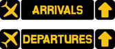 Arrival and departures airport signs — Stock Vector