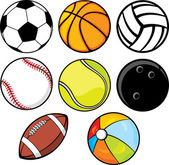 Ball collection - beach ball, tennis ball, american football ball, football ball — Stock Vector