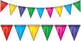 Party flags (party pennant bunting, bunting flags) — Stock Vector