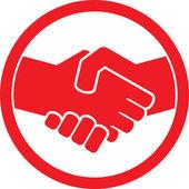 Handshake symbol (handshake emblem, handshake sign) — Stock Vector