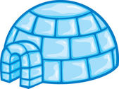 Illustration of a igloo (cartoon illustration of a igloo, icon igloo, white snow igloo, igloo illustration) — Stockvektor