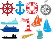 Deniz ve deniz simgeler — Stok Vektör