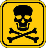 Vector danger sign with skull symbol — Stock Vector