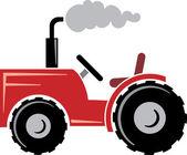 Red tractor — Vetor de Stock
