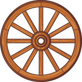 Old wooden wheel — Stock Vector