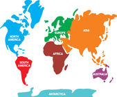 World map with continents — Vetor de Stock