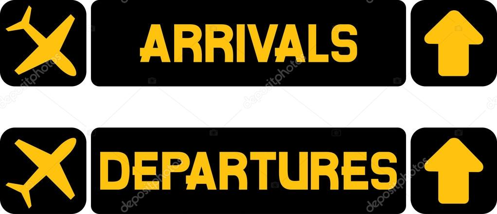 Arrival and departures airport signs stock vector - Felpudo arrivals departures ...
