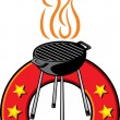 Barbecue grill label — Stock Vector