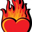 Flaming heart — Stock Vector