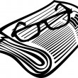 Newspaper icon and reading glasses — Stock Vector