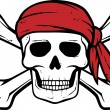 Pirate skull, red bandana and bones — Vector de stock