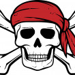 Pirate skull, red bandana and bones — ストックベクタ