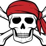 Pirate skull, red bandana and bones — Stock Vector