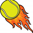 Tennis ball in fire — Stock Vector