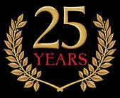 Corona de laurel dorado 25 años — Vector de stock