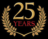 Golden laurel wreath 25 years — Stockvector