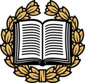 Open book and laurel wreath — Stock Vector
