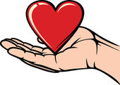 Hand holding the heart — Stock Vector