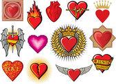Hjärtat samling — Stockvektor