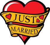 Just married design — Stock Vector
