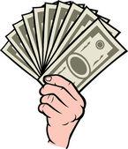 Eldeki para — Stok Vektör