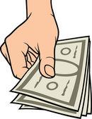 Hand giving money — Stock Vector