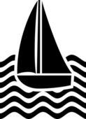 Stylized yacht sailboat symbol, sailboat icon — Stock Vector