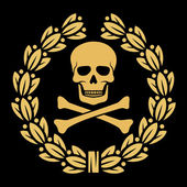 Skull, bones and laurel wreath symbol — Stock Vector