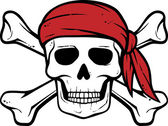 Pirate skull, red bandana and bones — Wektor stockowy