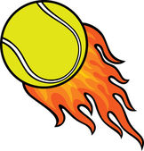 Pelota de tenis en fuego — Vector de stock
