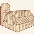 Barn and silo — Stock Vector