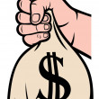 Hand holding money bag with dollar sign — Image vectorielle