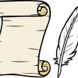 Old paper with feather (roll of old paper and feather, scroll and feather ) — Stock Vector