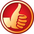 Vector hand showing thumbs up button — Stock Vector