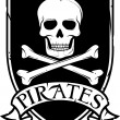 Pirate vector flag (jolly roger pirate flag with skull and cross bones) — Imagens vectoriais em stock