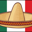 Stock Vector: Mexico flag (sombrero, mexichat)