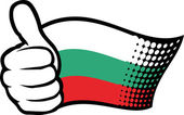 Flag of bulgaria. hand showing thumbs up. — Stock Vector