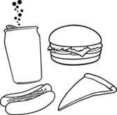 Fast food (hamburger, pizza, hot dog, juice — Stock Vector