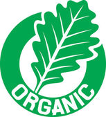 Organic sign (organic seal, organic symbol, oak leaf) — Vetor de Stock