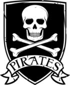 Pirate vector flag (jolly roger pirate flag with skull and cross bones) — 图库矢量图片