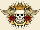 Skull symbol - skull tattoo design (crown, laurel wreath, wings, roses and banner) — Stock Vector