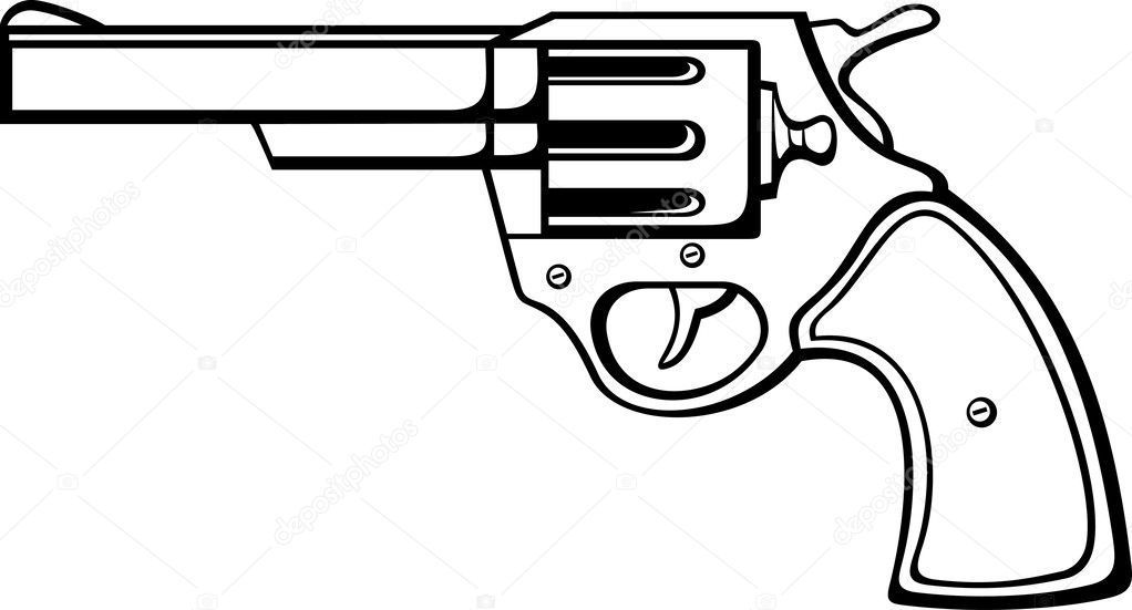 Line Drawing Gun : Handgun pistol gun old revolver — stock vector