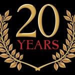 Illustration of a golden laurel wreath - 20 years — Stock Vector #27034017