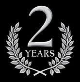 Altın defne çelengi 2 yıl — Stok Vektör