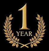 Golden laurel wreath 1 year — Stock Vector