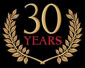 Golden laurel wreath 30 years — Stock Vector