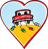 Just married on car driving — Stock Vector