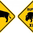 Buffalo crossing warning sign — Stock Vector
