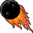 Bowling ball in fire — Stock Vector